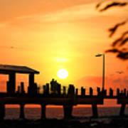 Sunset At Fort De Soto Fishing Pier Pinellas County Park St. Petersburg Florida Art Print