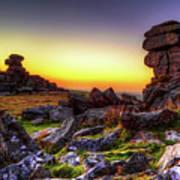 Sunset At Great Staple Tor On Dartmoor Art Print