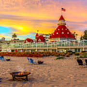 Sunset At Hotel Del Coronado Art Print
