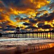 Sunset At Huntington Beach Pier Art Print by Peter Dang