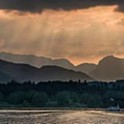 Sunset At Lake District Art Print