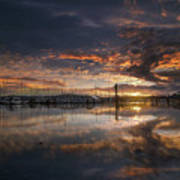 Sunset At Marina In Anacortes In Washington Art Print