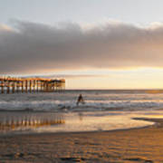 Sunset At Pacific Beach Pier - Crystal Pier - Mission Bay, San Diego, California Art Print