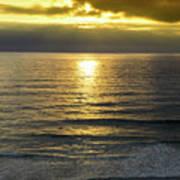 Sunset At Praia Pequena, Small Beach In Sintra Portugal Art Print
