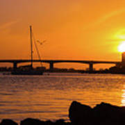 Sunset At Sarasota Bayfront Park Art Print