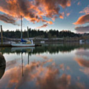 Sunset At Sellwood Riverfront Park Art Print