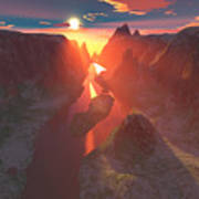 Sunset At The Canyon Art Print