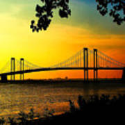 Sunset At The Delaware Memorial Bridge Art Print