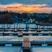 Sunset At The Marina In Winter Art Print