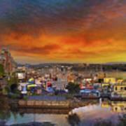 Sunset At Victoria Inner Harbor Fisherman's Wharf Art Print