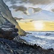 Sunset At Warren Point Duckpool Art Print