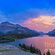 Sunset At Waterton Lakes National Park Art Print