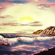 Sunset Beach Pastel Splash - Elegance With Oil Art Print