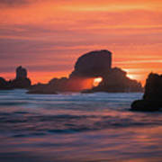 Sunset Behind Arch At Oregon Coast Usa Art Print
