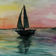 Sunset Boat 1 Art Print