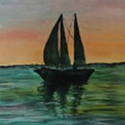 Sunset Boat 2 Art Print