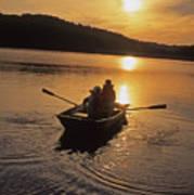 Sunset Boating  Art Print