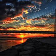 Sunset Bridge At Indian River Inlet Art Print