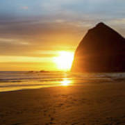 Sunset By Haystack Rock At Cannon Beach Art Print