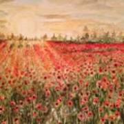 Sunset By The Poppy Fields Art Print