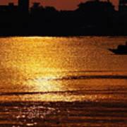 Sunset Country Boat Heading Towards Golden Rays Art Print