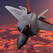 Sunset Fire F22 Fighter Jet Art Print