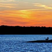 Sunset Fisherman  Art Print