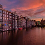 Sunset In Amsterdam Art Print