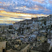 Sunset In Matera.italy Art Print