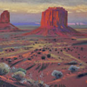 Sunset In Monument Valley Art Print
