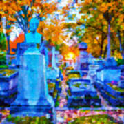 Sunset In Pere Lachaise Abstraction Art Print