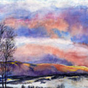 Sunset In The Rockies Art Print