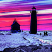 Sunset In Winter At Grand Haven Lighthouse Art Print