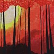 Sunset Into The Forest Art Print