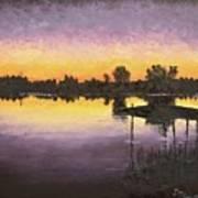 Sunset At Ryba Lake Art Print