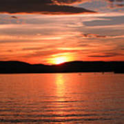 Sunset-lake Waukewan 1 Art Print by Michael Mooney