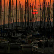 Sunset Marina Art Print