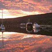 Sunset On Caledonian Canal Art Print