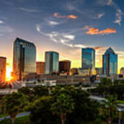 Sunset On Downtown Tampa Art Print