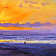 Sunset On Enniscrone Beach County Sligo Art Print
