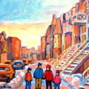 Sunset On Hotel De Ville Street Montreal Art Print