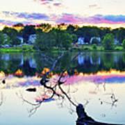 Sunset On Kenoza Lake Haverhill Ma Reflection Art Print