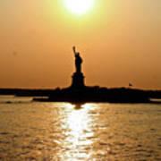 Sunset On Lady Liberty Art Print