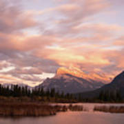 Sunset On Mount Rundle Art Print