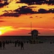 Sunset On The Clearwater Beach Art Print