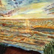Sunset On The Great Sea. Art Print