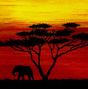 Sunset On The Serengeti Art Print