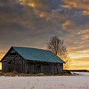 Sunset On The Snowy Fields Art Print