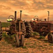 Sunset On The Tractors Art Print