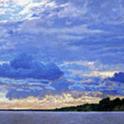 Sunset On The Volga. Gorodets Art Print